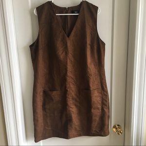 Brown suede pocket dress XXL